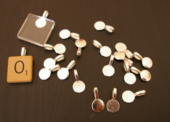 Sale - 25- Glue on medium large round flat pad silver Bails for scrabble or glass tiles Lead free, Nickel Free