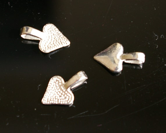 50 - Small silver  heart shape Glue on Pendant Bails for scrabble or glass tiles Lead free, Nickel Free