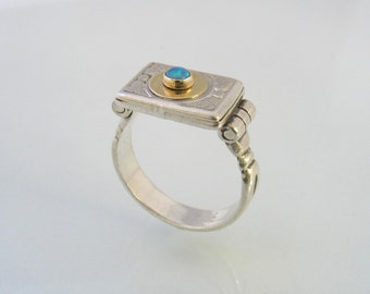 Silver and Gold  Engraved Ring  set with Lab Opal Stone-Victorian style