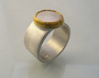 Captive Pearl Ring - matte silver ring with cultured pearl on gold