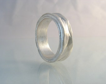 Sculpture Ring - silver band, nontraditional wedding ring