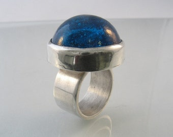 Turquoise Galaxy - glass cabochon and sterling silver ring