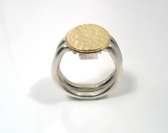 Gold Swing Ring - hammered gold disk on silver bands