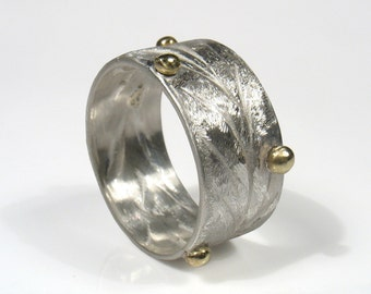 Orbits of the Planets-silver band with gold, wedding ring for him and her