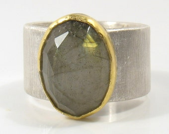 22k  solid gold sets an Oval rose cut green Labradorite  on silver ring- From me to you ring.statement ring, cocktail ring, solitaire ring.