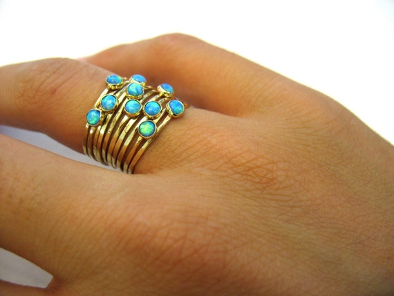 Handmade  hammered stacking together gold rings with Opals-The Ocean Ring.