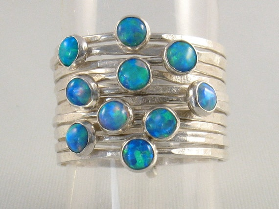 Multiply hammered silver bands set with opalites stones-Sparkle Coronation Ring.Stacking rings.s