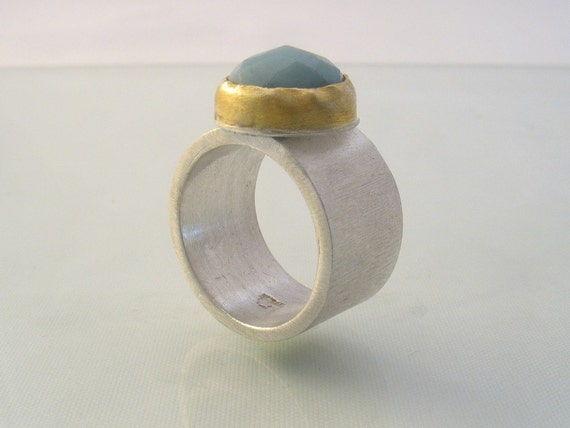 The Amazonite Ring - amazonite set in gold on silver ring
