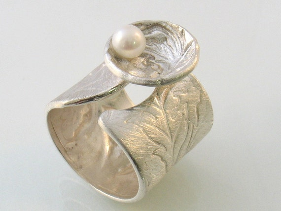 Satin ,flowers texture on open band silver ring with pearl in a flower shell- Pearl in a Shell.Statement ring.