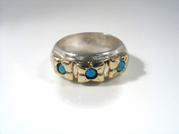 Engagement ring.Three Gold Flowers - silver ring with gold flowers and Lab opals