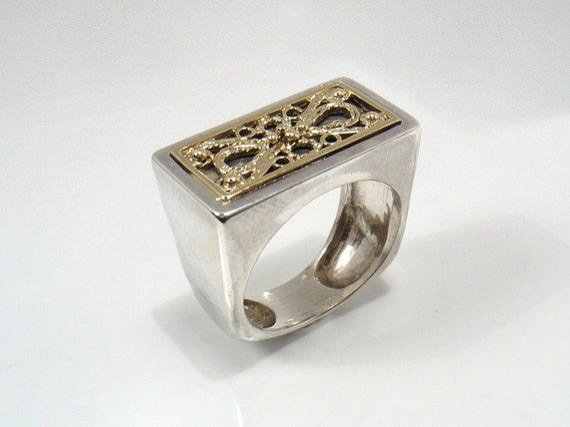 Open to Romance - gold Yemenite filigree on silver unisex ring