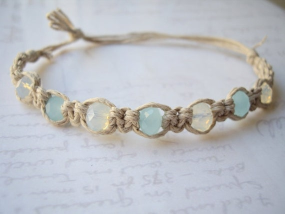 Aqua Crystal Faceted Hemp Bracelet Cs127