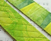 Hand Dyed Fabric Bookmark, LEMON LIME, Pieced and Quilted, Green Citrus Batik Backing, FREE Shipping