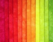 Hand Dyed Cotton Quilt Fabric, CHILI AND LIME medley, 12 Fat Quarters