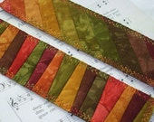 Hand Dyed Fabric Bookmark, FIERY FOLIAGE, Pieced and Quilted, Autumn Leaf Batik Backing, FREE Shipping