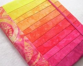 Hand Dyed Fabric Journal Cover, MELON SLICES, Pieced and Quilted, Hot Pink and Orange Watermelon Batik