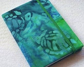 Batik Covered Pocket Memo Book, SEA TURTLES, Refillable Mini Composition Notebook Cover in Deep Blue and Green