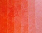 Hand Dyed Cotton Quilt Fabric, POPSICLE ORANGE  gradation, 6 Fat Quarters in Neon Orange