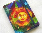 Fabric Covered Pocket Memo Book, Refillable Mini Composition Notebook Cover in Bright Celestial Print