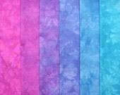 Hand Dyed Cotton Quilt Fabric, WATER GARDEN, 6 Fat Quarters in Dreamy Blurple