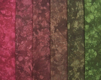 Hand Dyed Fabric, FOREST FLOOR medley, Cotton Quilt Fabric, 6 Fat Quarters in Deep Earth Tones