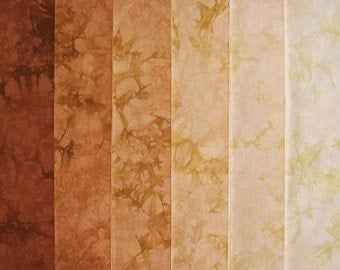 Hand Dyed Cotton Quilt Fabric, GOLDEN BROWN gradation, 6 Fat Quarters