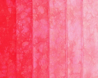 Hand Dyed Cotton Quilt Fabric, CORAL gradation, 6 Fat Quarters in Bright Scarlet Orange-Red