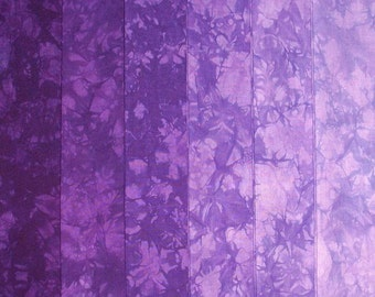 Hand Dyed Cotton Quilt Fabric, HELIOTROPE gradation, 6 Fat Quarters in Royal Purple
