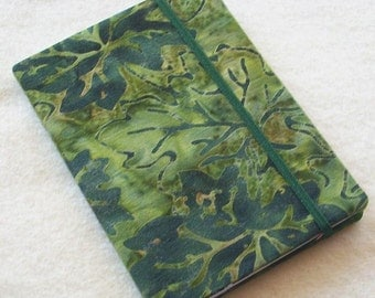 Batik Covered Pocket Memo Book, Refillable Mini Composition Notebook Cover in Grape Leaf Fabric