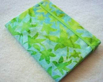 Batik Covered Pocket Memo Book, Refillable Mini Composition Notebook Cover in Bright Green Leaves