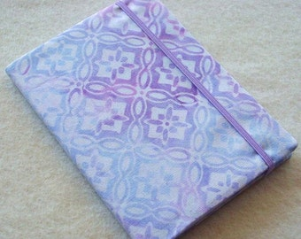 Batik Covered Pocket Memo Book, Refillable Mini Composition Notebook Cover in Pastel Blue and Lavender