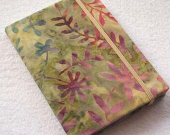 Batik Covered Pocket Memo Book, MOUNTAIN, Refillable Mini Composition Notebook Cover in Pretty Floral