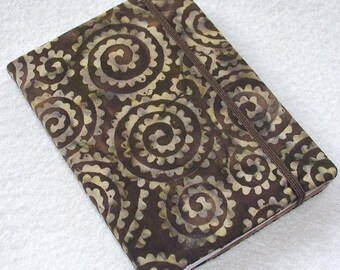 Batik Covered Pocket Memo Book, TRIBAL, Refillable Mini Composition Notebook Cover in Dark Brown Swirls