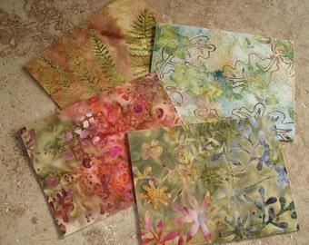 Note Cards, Set of 4, Beautiful Batik Fabric, SOFT BOTANICALS