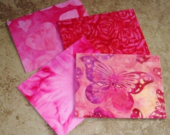 Beautiful Batik Fabric Note Cards, Set of 4, Hearts and Butterflies