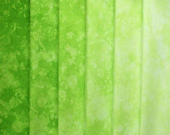 Hand Dyed Cotton Quilt Fabric, BRIGHT LIME gradation, 6 Fat Quarters in Neon Green