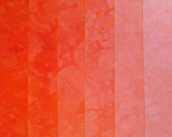 Hand Dyed Cotton Quilt Fabric, POPSICLE ORANGE  gradation, 6 Fat Quarters in Neon Orange
