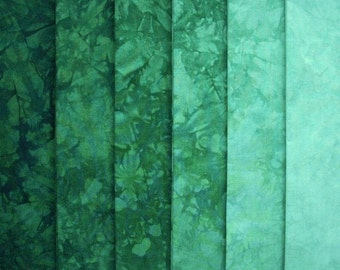 Hand Dyed Cotton Quilt Fabric, SHAMROCK gradation, 6 Fat Quarters
