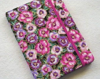 Fabric Covered Pocket Memo Book, Refillable Mini Composition Notebook Cover in Sweet Pansy Print