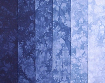 Hand Dyed Cotton Quilt Fabric, NAVY Gradation, 6 Fat Quarters in Denim Blues