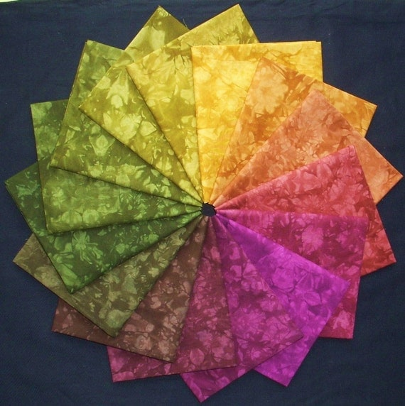 Hand Dyed Cotton Quilt Fabric, SHENANDOAH colorwheel, 15 Fat Quarters in Deep, Woodsy Colors