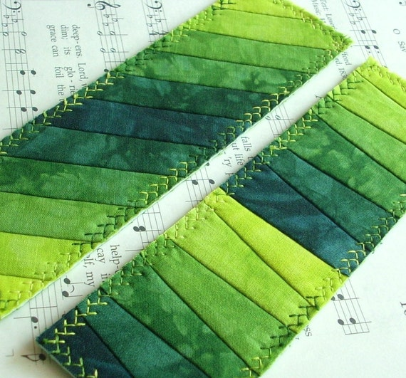 Hand Dyed Fabric Bookmark, LEAF, Pieced and Quilted, Lush Green Batik Backing Fabric, Ready to ship