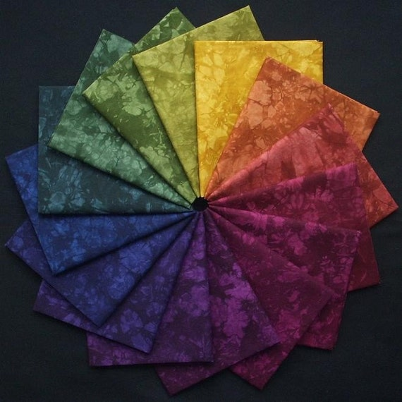 Hand Dyed Cotton Quilt Fabric, PAINTED DESERT colorwheel, 15 Fat Eighths in Rich, Dusky colors, READY to Ship