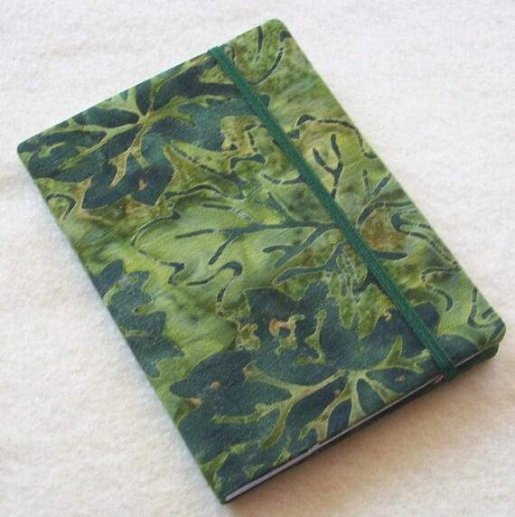 Batik Covered Pocket Memo Book, Refillable Mini Composition Notebook Cover in Grape Leaf Fabric