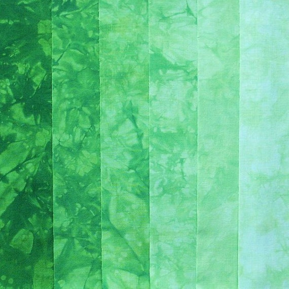 Hand Dyed Cotton Quilt Fabric, CUCUMBER MELON gradation, 6 Fat Eighths, READY to Ship
