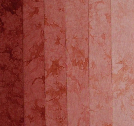 Hand Dyed Cotton Quilt Fabric, RUST BROWN gradation, 6 Fat Quarters