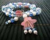 Glass Lampwork Memory Wire Lily Bracelet and Earrings Set