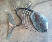 Fish Sculpture Handmade Tropical  Beach  Coastal Decor Metal  Wall Art
