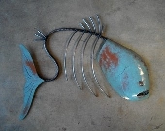 Fish Sculpture Tropical  Beach  Coastal Metal  Wall Art