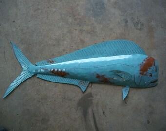 Mahi Mahi Metal Fish Wall sculpture Tropical Beach Coastal